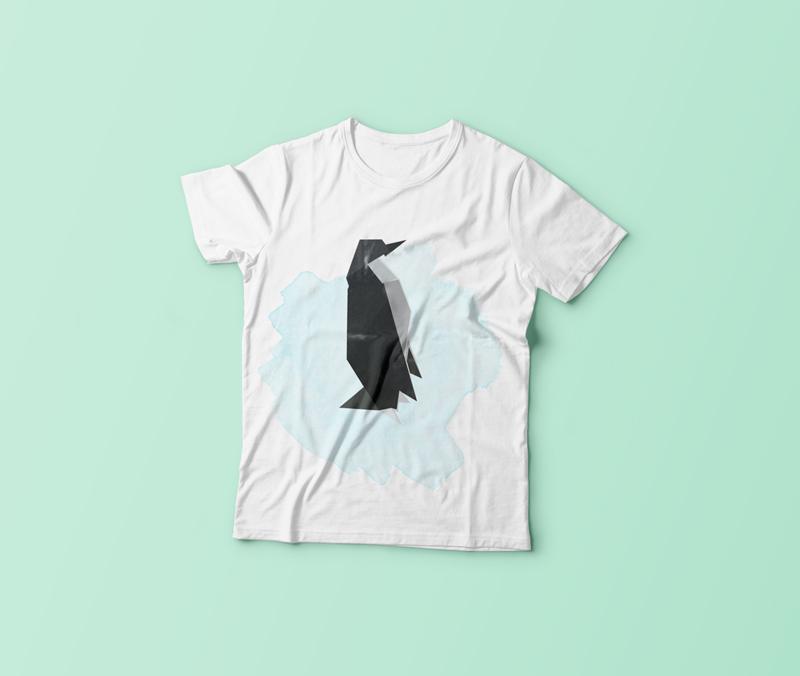 origami penguen t-shirt